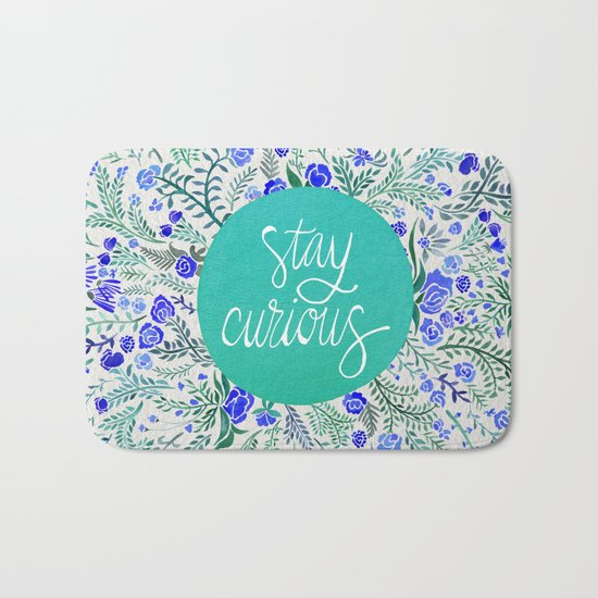 Stay Curious – Navy & Turquoise Bath Mat