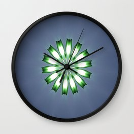 Floral Button on Blue Gray Mandala Abstract Wall Clock