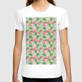 Flamingo Pink Bird - Tropical Jungle Style Pattern T-shirt