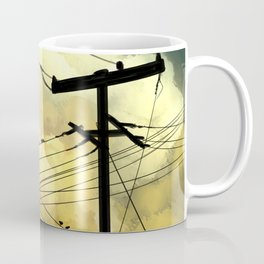 Telephone wires with green clouds Coffee Mug