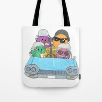 vampire weekend Tote Bags featuring Holiday Vampire Weekend by Pily Clix