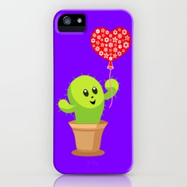 Cute happy smiling kawaii potted cactus plant with a red heart balloon. Be kind. Kindness. iPhone Case