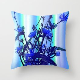 Blue Wildflowers With Backlight Throw Pillow