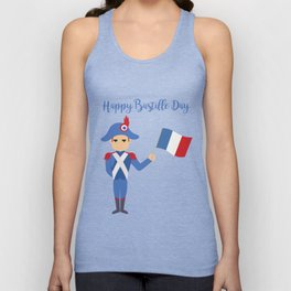 Soldier holding the French flag - Bastille Day Unisex Tank Top
