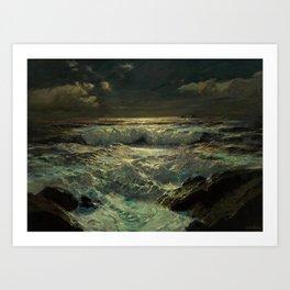 The Longships Light nautical landscape painting by Julius Olsson Art Print