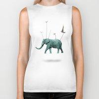 elephant Biker Tanks featuring elephant by mark ashkenazi