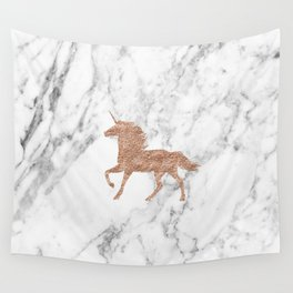 Rose gold unicorn on marble Wall Tapestry