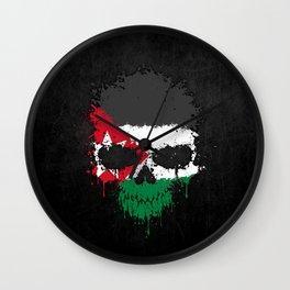 Flag of Jordan on a Chaotic Splatter Skull Wall Clock