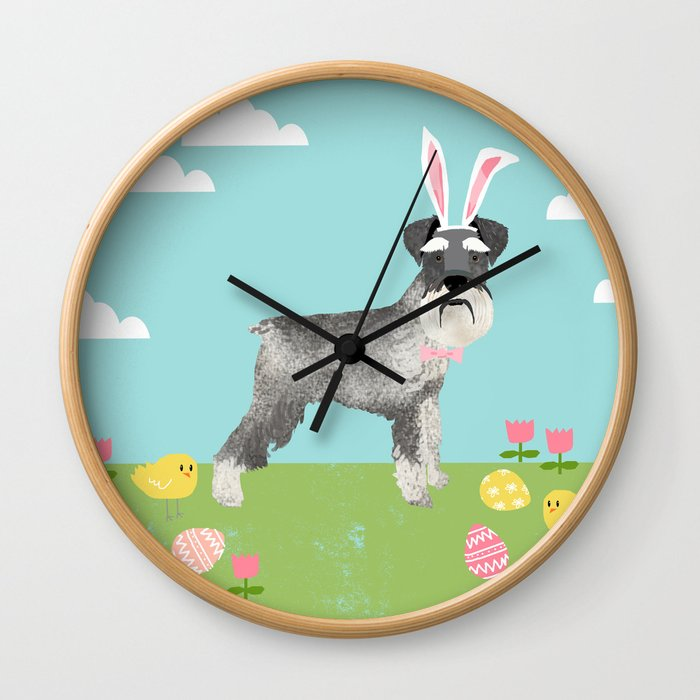 Schnauzer easter dog breed pet pattern rescue dog schnauzers lovers spring easter eggs Wall Clock