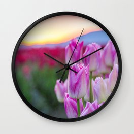 Early Morning Tulips Wall Clock