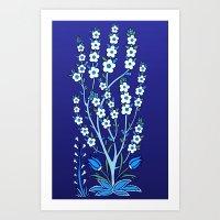 Blue Tile Style Blossoms Art Print