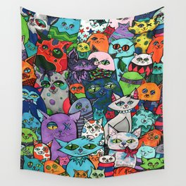 Crazy Cats Color  Wall Tapestry