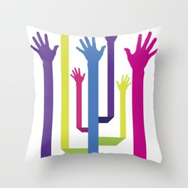Hands Tree Throw Pillow