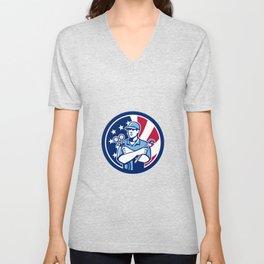 American Air-Con Serviceman USA Flag Icon Unisex V-Neck