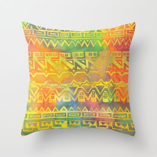 AZTEC STRIPE - yellow Throw Pillow