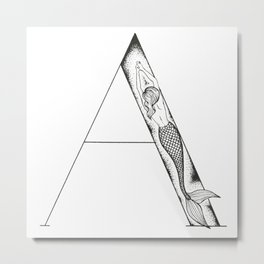 Mermaid Alphabet Series - A Metal Print