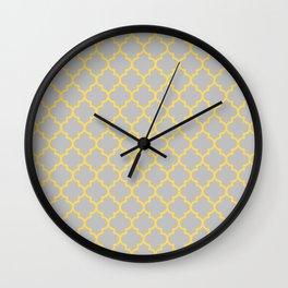 Mustard Yellow Moroccan Quatrefoil On Silver Gray Wall Clock