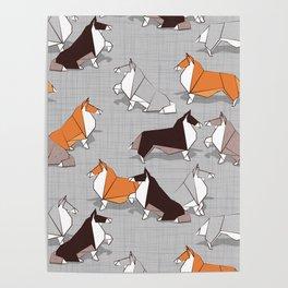 Origami Collie doggie friends Poster