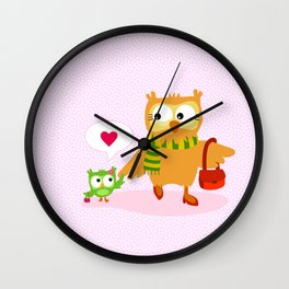 Mom, I love you  - Owl Wall Clock