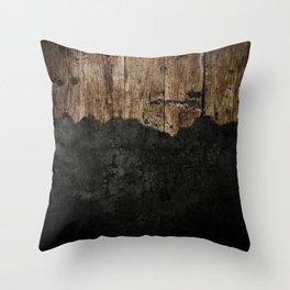 Black Grunge & wood pattern Throw Pillow