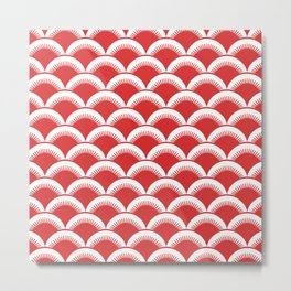 Japanese Fan Pattern 130 Red Metal Print