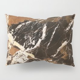 Sienna Brown and Black Marble With Creamy Veins Pillow Sham