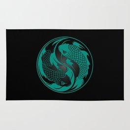 Teal Blue and Black Yin Yang Koi Fish Rug