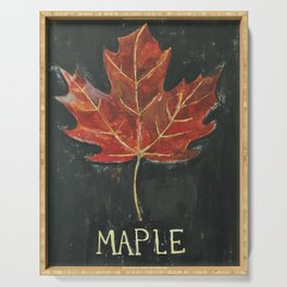 Fall Red Maple Leaf Black Background Serving Tray