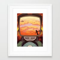 flcl Framed Art Prints featuring FLCL - Off into the Burning Sunset by PinStripes Studios