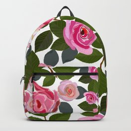 Pink roses and leaves hand drawn pattern Backpack