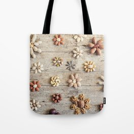 Dried fruits arranged forming flowers (4) Tote Bag