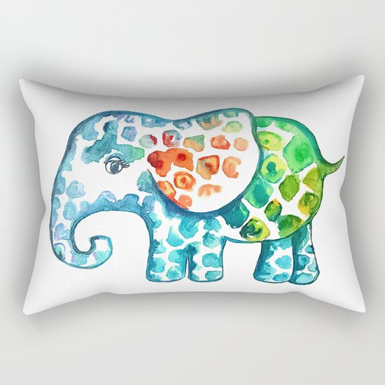 Rainbow Elephant Rectangular Pillow