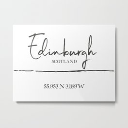 Edinburgh : Typography Metal Print