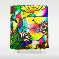 tiffany Shower Curtains featuring Tiffany Sunset by BonnieLeeman