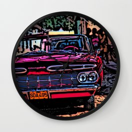 Old american car in Trinidad, Kuba Wall Clock