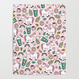 Pink Unicorn, Sweet Pink, Donuts and Frappuccino, Cute Emoji Print for Girls, Tween Decor Poster