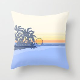Big Sunset Hawaiian Surfer Striped Scenic Throw Pillow
