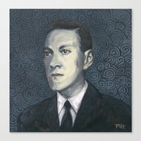 lovecraft Canvas Prints featuring H.P. Lovecraft by Melinda Hagman
