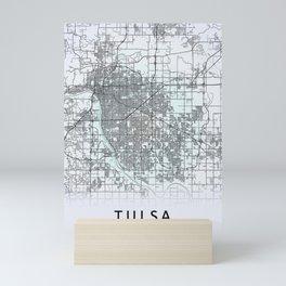 Tulsa, OK, USA, White, City, Map Mini Art Print