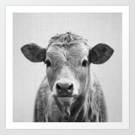 Cow 2 - Black & White Art Print