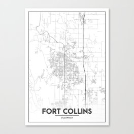 Minimal City Maps - Map Of Fort Collins, Colorado, United States Canvas Print