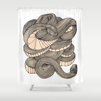 snake Shower Curtains featuring Snake  by AW Illustrations