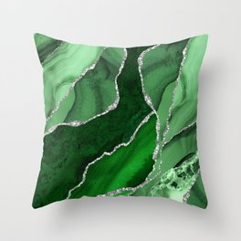 Emerald Green And Silver Marble Waves #society #buyart Throw Pillow