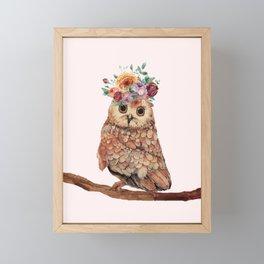 Owl with Flowers Framed Mini Art Print