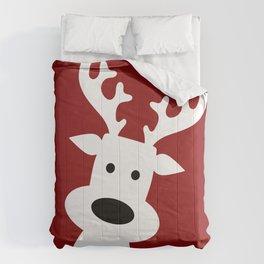 Reindeer on red background Comforters