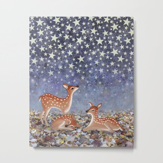 whitetail fawns under the stars Metal Print