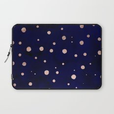 Navy blue watercolor chic rose gold modern confetti polka dots pattern Laptop Sleeve