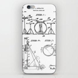 Drum Set Patent - Drummer Art - Black And White iPhone Skin