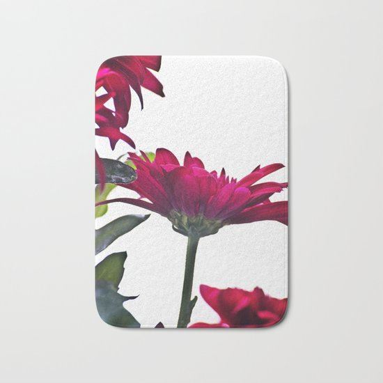 Red Chrysanthemum Flowers Bath Mat