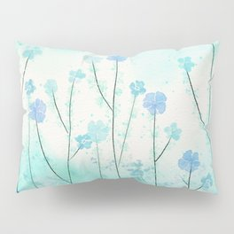 Turquoise Field of Flowers Pillow Sham